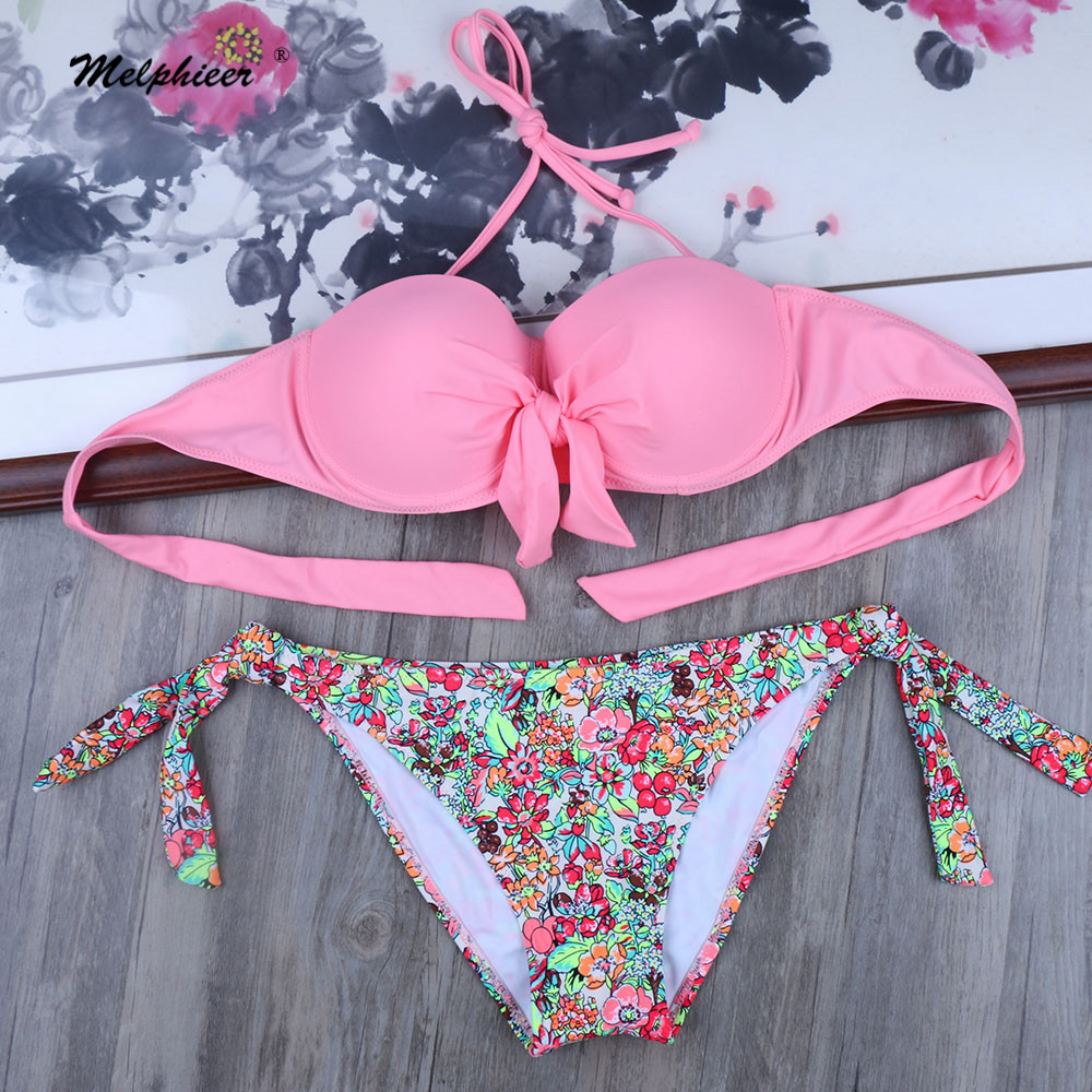 Melphieer Two-piece women pink <font><b>bikini</b></font> set Elegant summer underwired push up swimwear bathing swim suits Bow Tie swimsuit <font><b>XL</b></font> <font><b>XXL</b></font> image