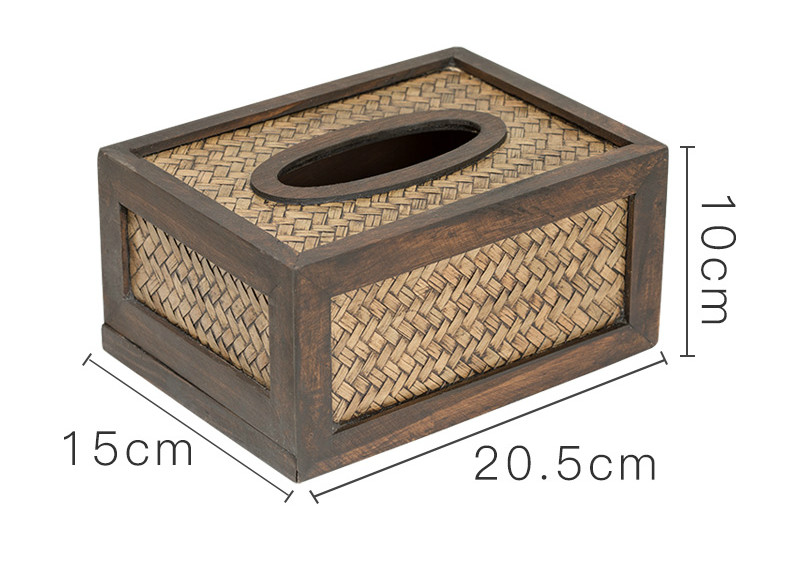 Креативная прочная деревянная гостиная коробка ткани бамбуковый Плетеный лоток Ретро бумажная насосная коробка ротанга деревянный лоток для салфеток WF7261145 - Цвет: B
