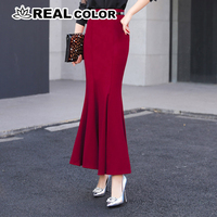Autumn winter package hip Vintage long mermaid skirt women elegant office lady trumpet skirts with free belt 83