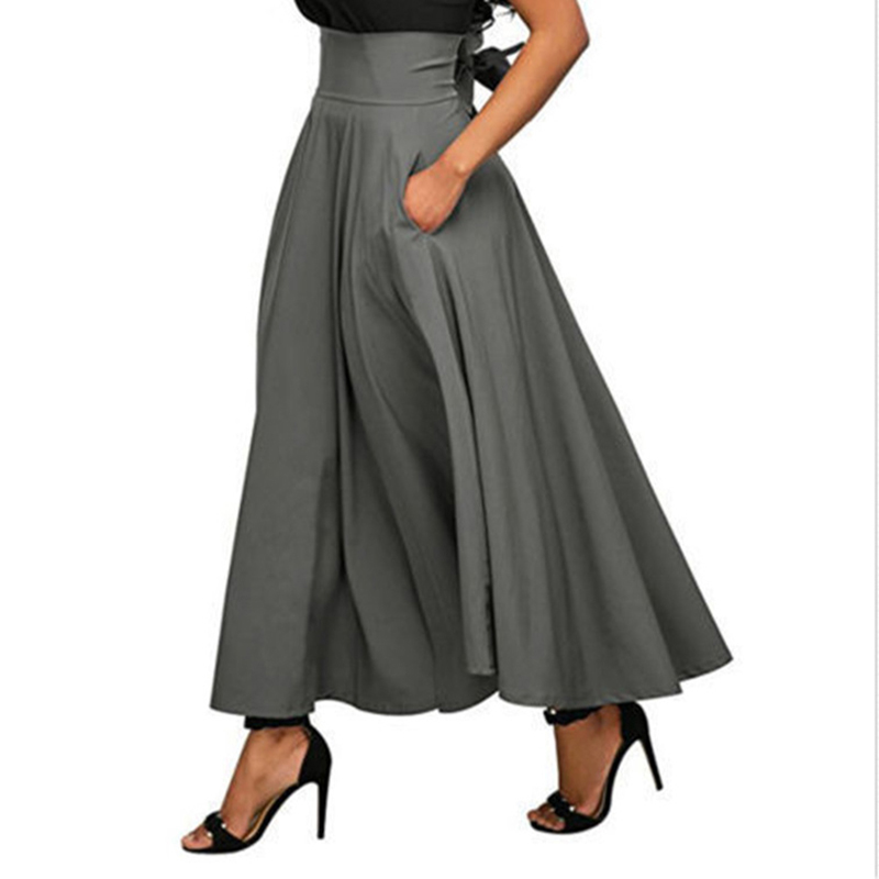 Autumn Winter Women's Basic Solid High Waist Vintage Drawstring Expansion Bottom Half-length Skirt Elegant High Waist Long Skirt