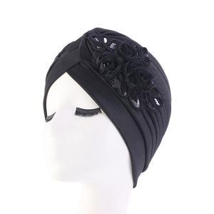 Image 3 - Sequins อินเดียมุสลิมผู้หญิง Ruffle ดอกไม้มะเร็ง Chemo Hat หมวกผ้าพันคอหัวหมวก Turban Headwear Bonnet Skullies Beanie ใหม่