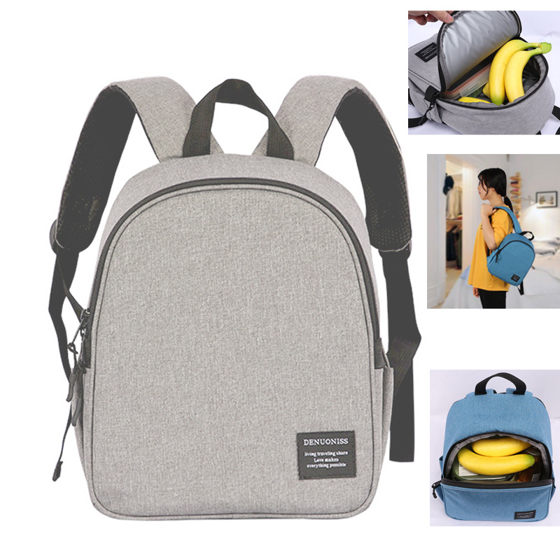 DENUONISS Brand Gray Cooler Backpack Women Waterproof With Pockets For Child Mini Soft Thermal Backpack