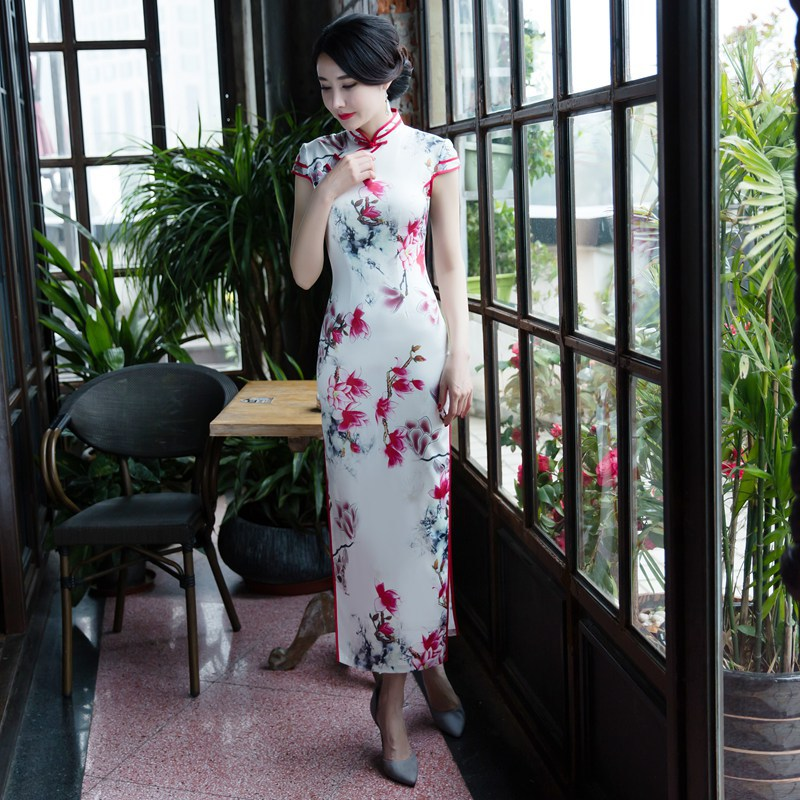 Cross Border 2019 Spring New Style Short Sleeve Real Silk Cheongsam Long Chinese-style Improved Slim Fit Sexy Dress Wholesale