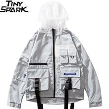 Erkek ceket rüzgarlık Hip Hop Streetwear Harajuku kapüşonlu ceket toka şerit çok cep 2019 sonbahar fermuar eşofman üstü Hoodie