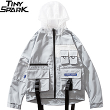 Men Jacket Windbreaker Hip Hop Streetwear Harajuku Hood Jacket Buckle Ribbon Multi Pocket 2019 Autumn Zipper Track Jacket Hoodie