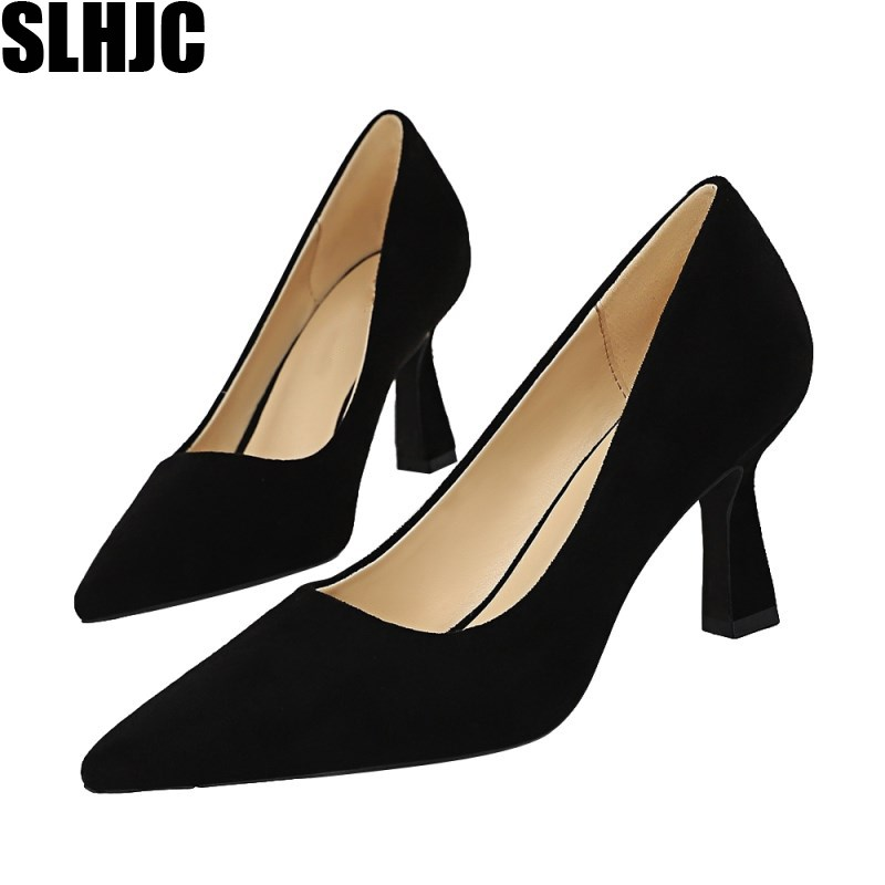 SLHJC 2020 Spring Office Lady Pumps Brief 7.5 CM High Square Heels Shoes Formal Dress Party Work Shoes Pointy Toe Plus Size 42