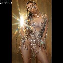 Silber Perlen Anhänger Pailletten Spandex Body Frauen Tänzerin Bar Sänger Zeigen Outfit Prom Pole Dance Feiern Outfit