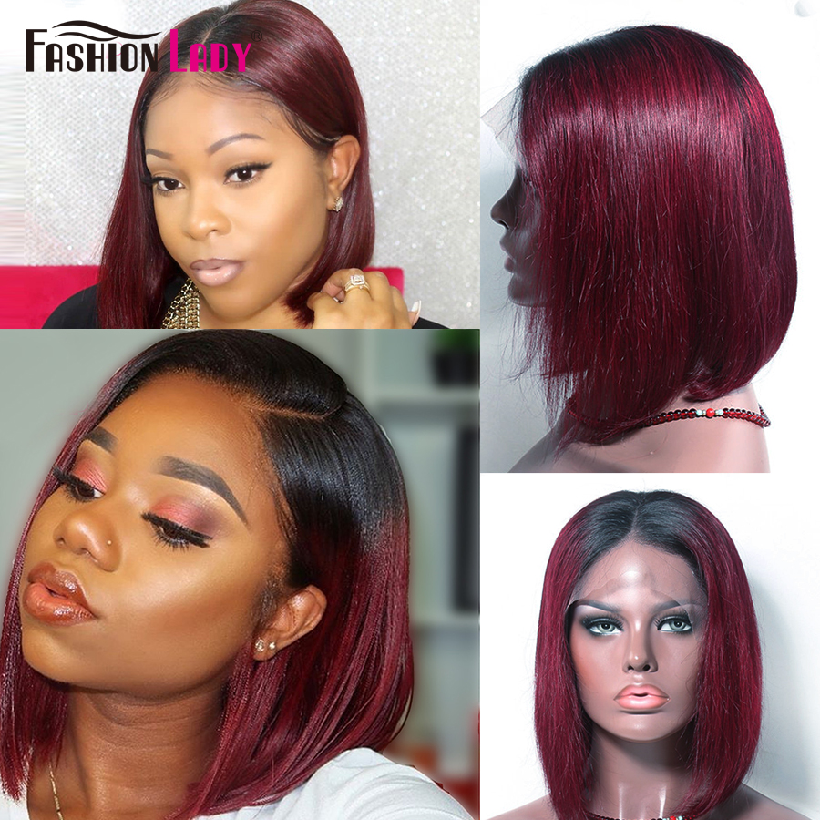 FASHION LADY Pre Colored 1b 99j Lace Front Human Hair Wigs Brazilian Straight Ombre Bob Lace Front Wigs Red Human Hair Wig