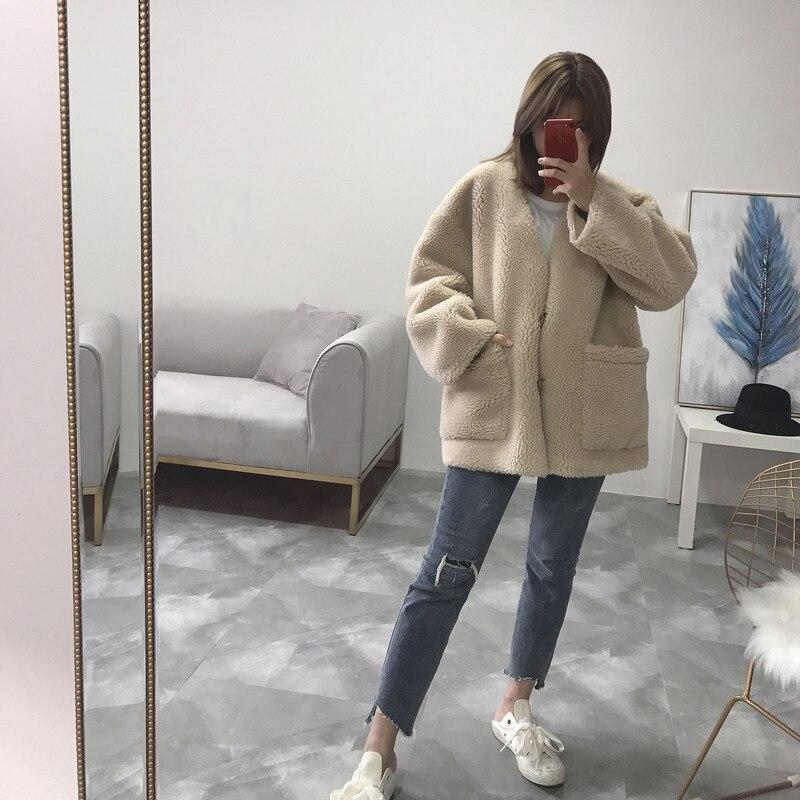 Real Fur Vintage Autumn Winter Coat Women Short Korean Oversize Vneck Wool Jacket Abrigos Mujer Invierno 2020 YY681