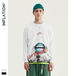 Image 5 - INFLATION ASTRONAUTEN Drucken Raum Elemente Fleece Männer Sweatshirt In Weiß Und Schwarz Männer Lose Fit Streetwear Männer Sweatshirt 9621W
