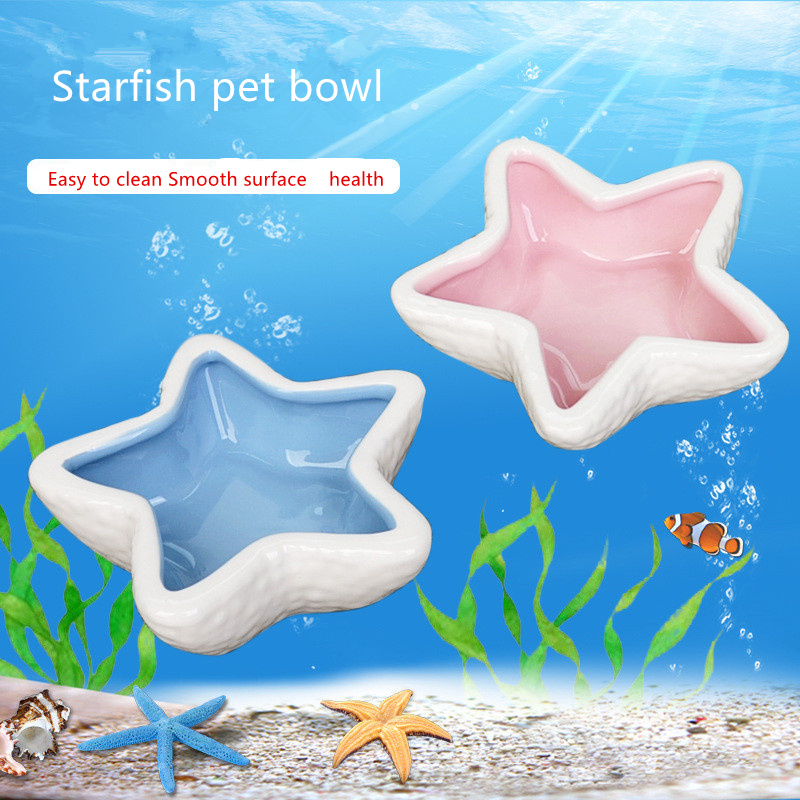 Starfish Hamster Ceramic Food Water Snack Feeder for Little Pets Squirrel Guinea Pig Chinchilla Ferret Rabbit Bowl Pet Accessory image