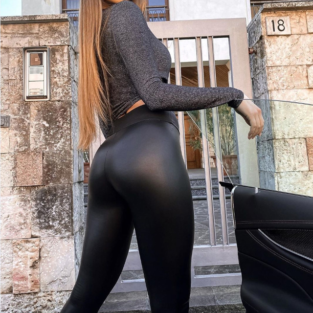 Winter Women Black PU Leather Leggings  Skinny Push Up High Waist Leggings Elastic Trousers Stretch Plus Size Leggings 5xl 6