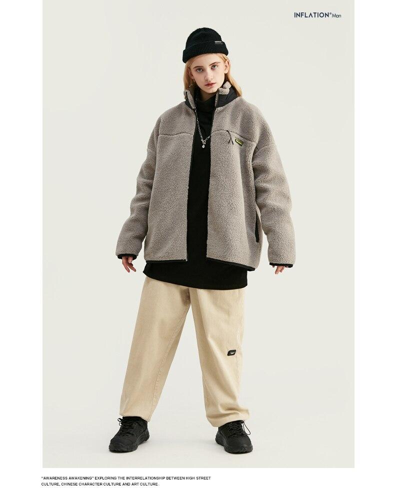 INFLATION Design Mens Winter Corduroy Jogger Pants Pure Color Loose Overalls Men Jogger Corduroy Pants Elastic Waist 93345W 5