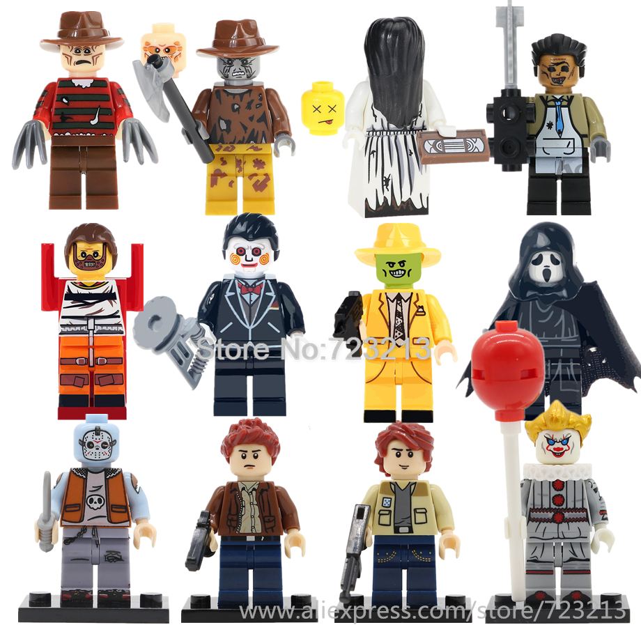 12pcs Horror Movie Figure Scream Billy Freedy Jeepers Creepers Leatherface Comedy Ring Clown Building Blocks Kits Bricks Toys