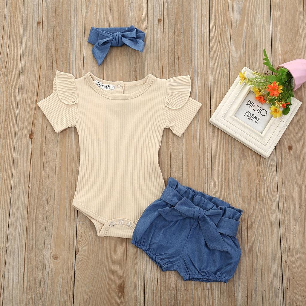 3 pçs do bebê meninas roupas infantis conjunto soild cor plissado algodão macio macacão bowknot denim verão shorts outfits 6m 24m|Conjuntos de roupas|   -
