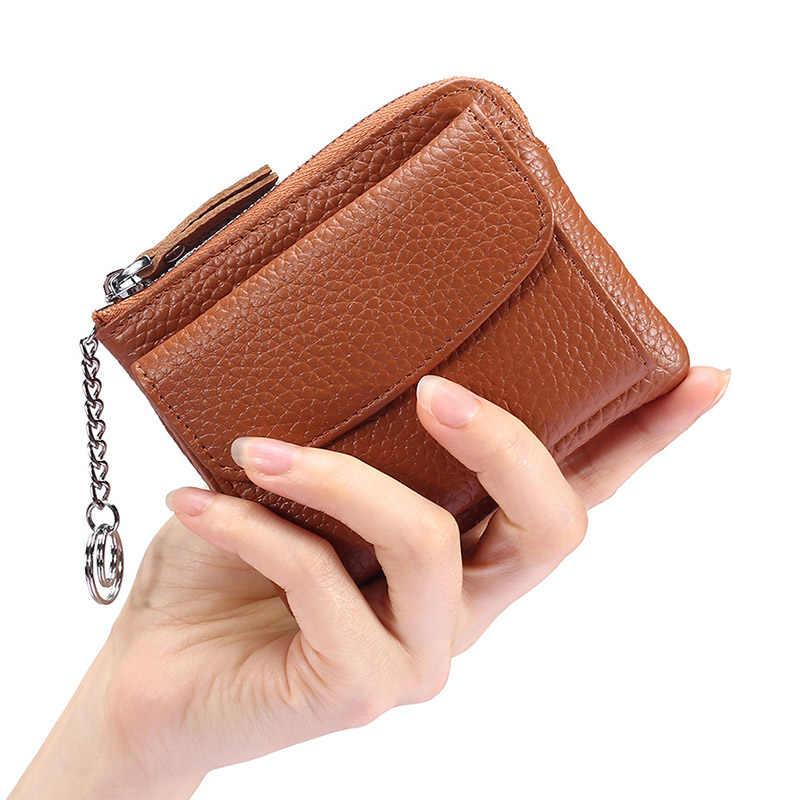 CICICUFF Coin torebka z prawdziwej skóry kobiet krótki zmień portfel portmonetka etui na karty kieszeń na suwak skórzana portmonetka Mini portmonetka