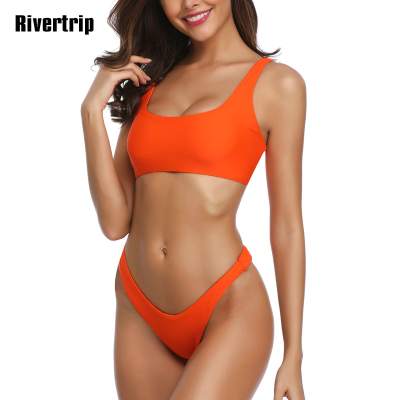 Rivertrip New Solid <font><b>Bikini</b></font> Set <font><b>U</b></font>-back <font><b>Swimwear</b></font> <font><b>Women</b></font> <font><b>Push</b></font> Up Swimsuit <font><b>Sexy</b></font> Biquini <font><b>High</b></font> Cut Bathing Suit Brazilian <font><b>Bikini</b></font> <font><b>2019</b></font> image