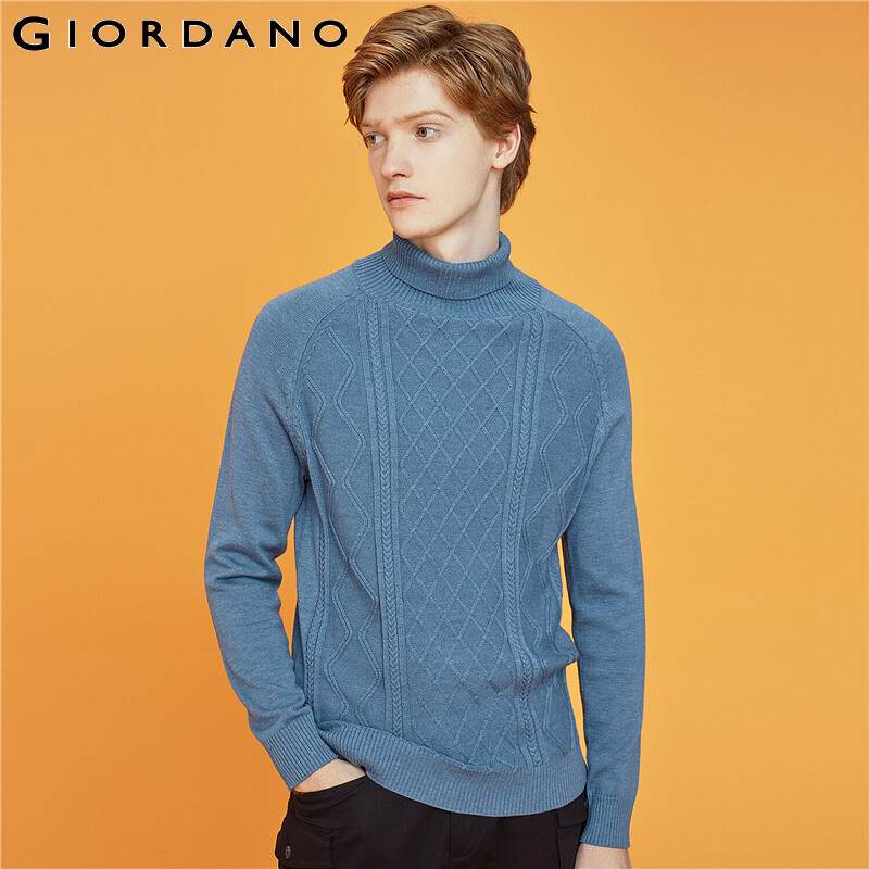 Giordano Men Sweaters Vintage Turtleneck 12 Needle Knitted Sweater Soild Color Warm Blusa De Frio Masculino 13059803