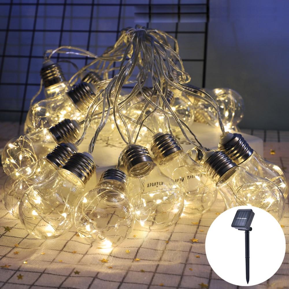 10/20 Light Led Bulb Solar String Light Outdoor Clear Globe Bulbs Festoon Party Fairy Lights Holiday Garland Xmas Decoration