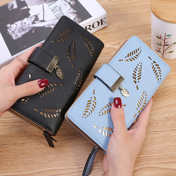 2020 Women Wallet PU Leather Purse Female Long Wallet Gold Hollow Leaves Pouch Handbag For Women Coin Purse Card Holders Clutch wallet brand coin purse pu leather women wallet purse wallet female card holder long lady clutch purse carteira feminina