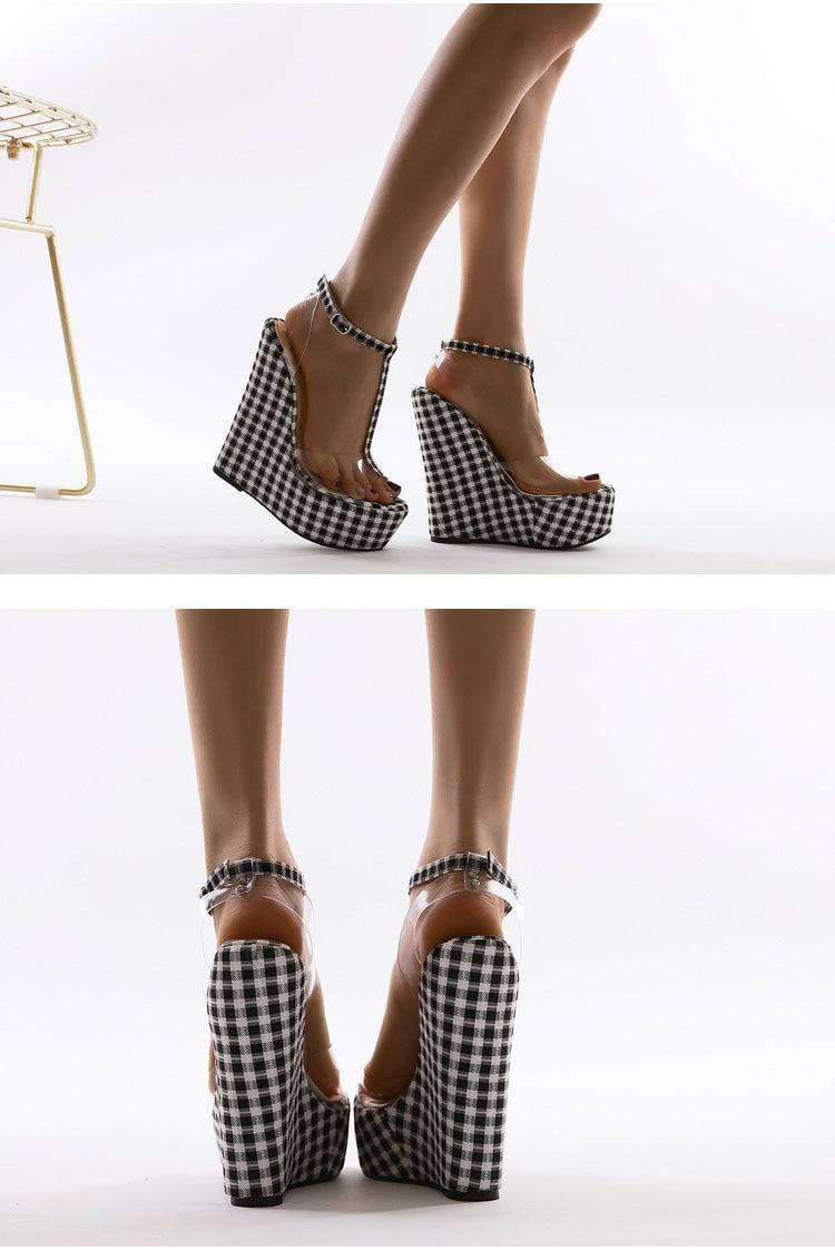 Chaussure Mode Vichy Fonds Épais Sandales À Talons Compensés