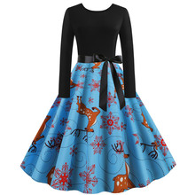 2019 Christmas New  Women Vintage Long Sleeve 1950s Housewife Evening Party Prom dress Drop Shipping
