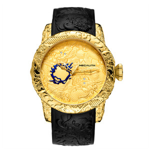 Image 2 - MEGALITH ファッション男性腕時計トップの高級ブランドゴールドドラゴン彫刻腕時計メンズクォーツ時計防水ビッグダイヤルスポーツマン