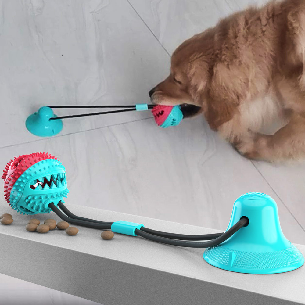 Pet Dog Toys Silicon Suction Cup Tug Dog Toy Dogs Push Ball Toy Pet Tooth Cleaning Dog Toothbrush For Puppy Large Dog Biting Toy image