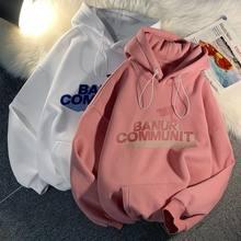 Letras imprimir quente hoodies mulheres engrossar outono inverno camisolas com capuz harajuku vintage pulôver feminino de grandes dimensões streetwear