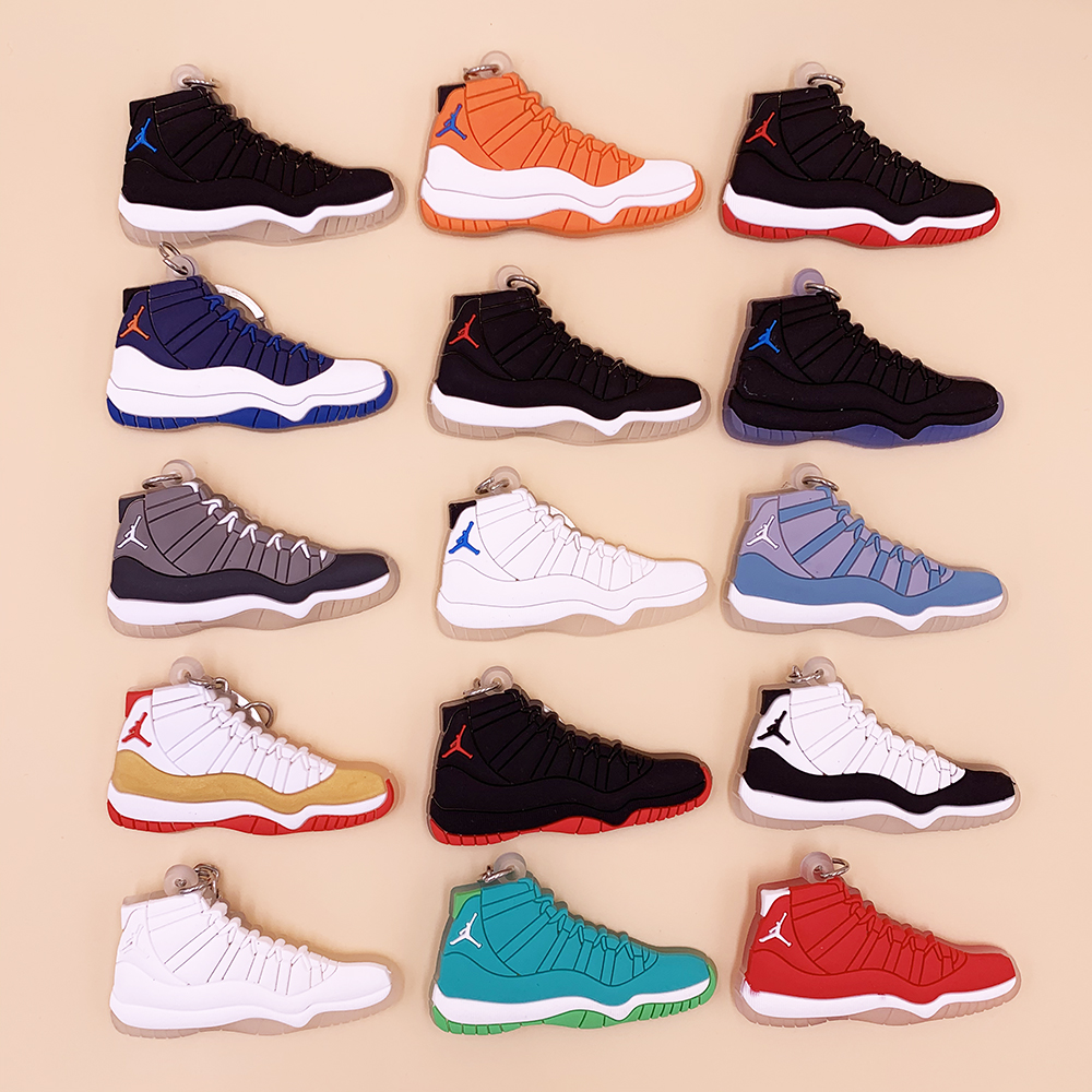 Keychain Mini Silicone Jordan 11 Key Chain Woman Men Kids Gift Car Bag Pendant Keyring Jewelry Porte Cef