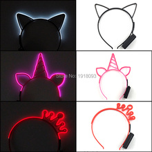 3 Style Unicorn Crown Cat LED Glow Headband Cute EL Neon Light up for Party Supplies Concert Costume Decoration