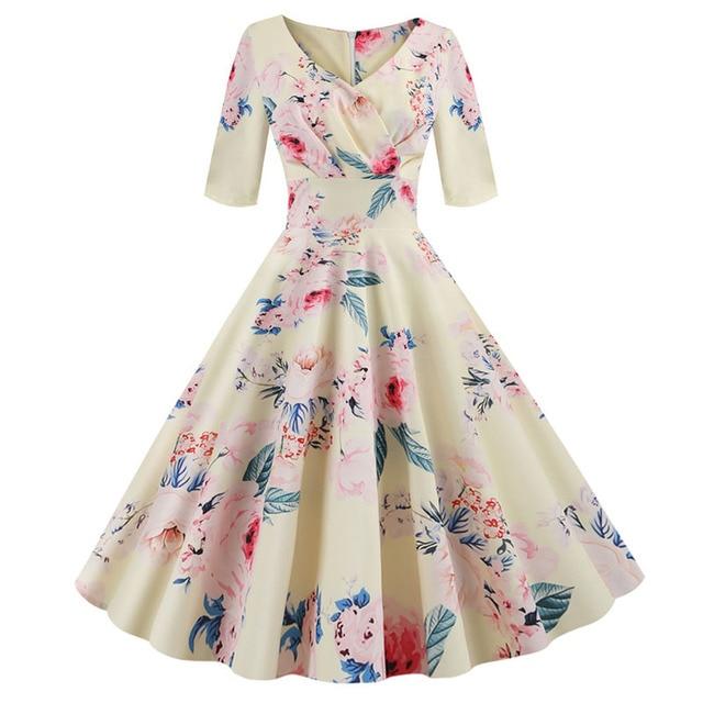 Women flower print Autumn dress Casual Winter half sleeve Elegant Vintage dress Robe femme plus size pinup office party vestidos 5