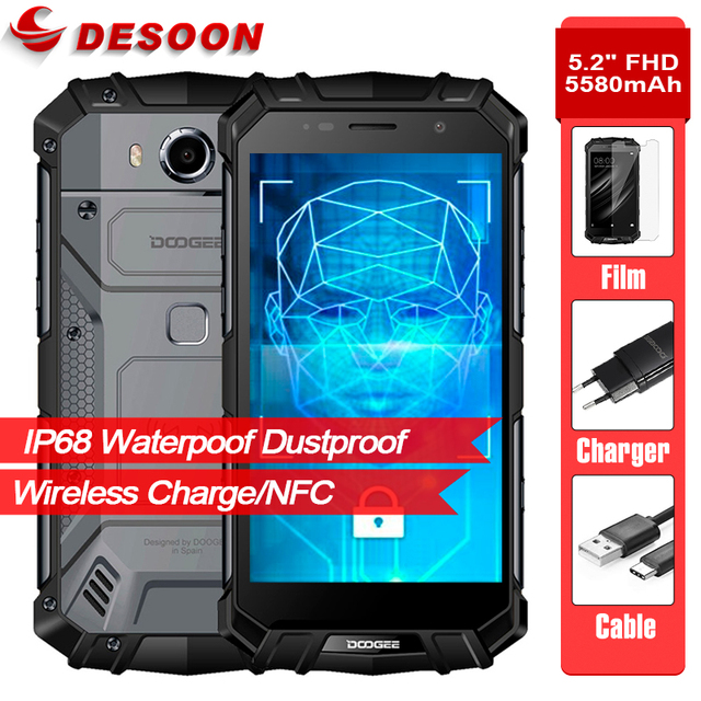 "Doogee S60 Lite 5.2"" FHD IP68 Waterproof 5580mAh 12V/2A Wireless Charge Smartphone 4GB 32GB Glonass NFC Touch ID 4G Lte Cellphon"