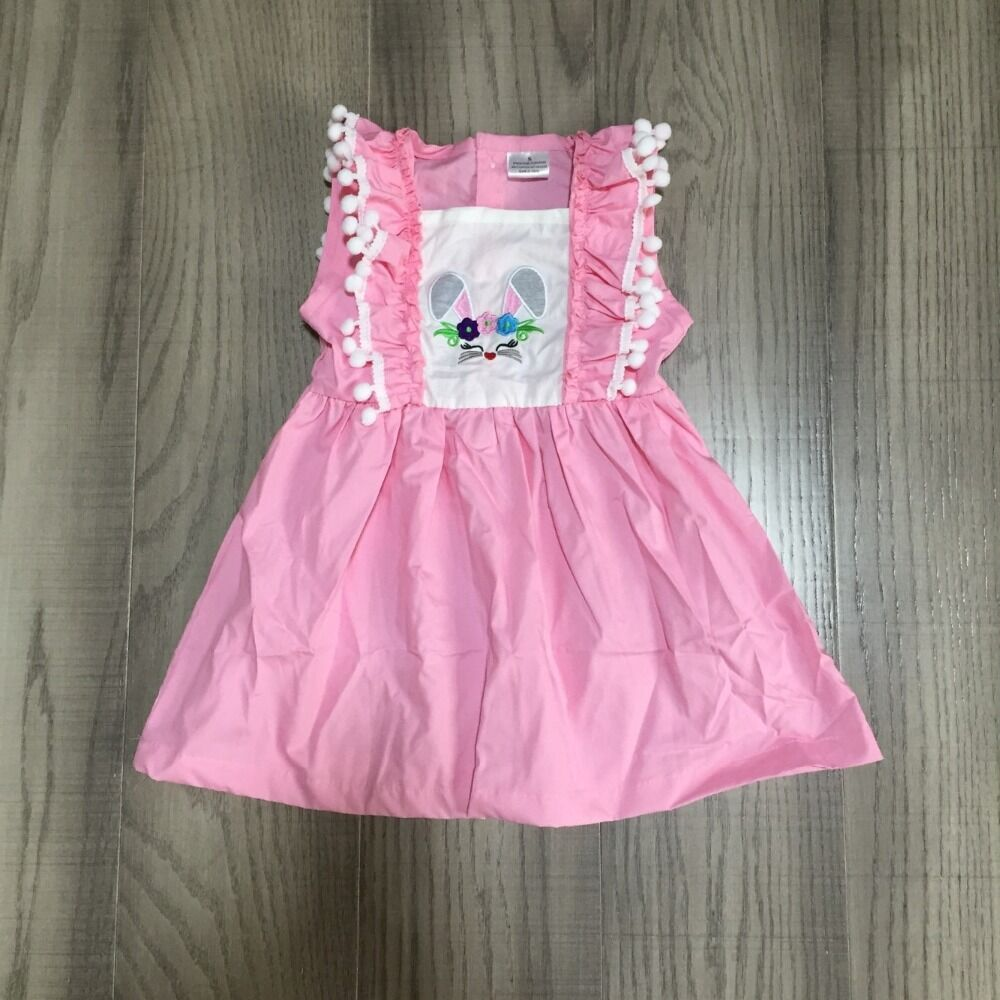 Baby Girls Easter Dress Girls Spring Dress With Bunny Print Girls Pink Dress Wholesale