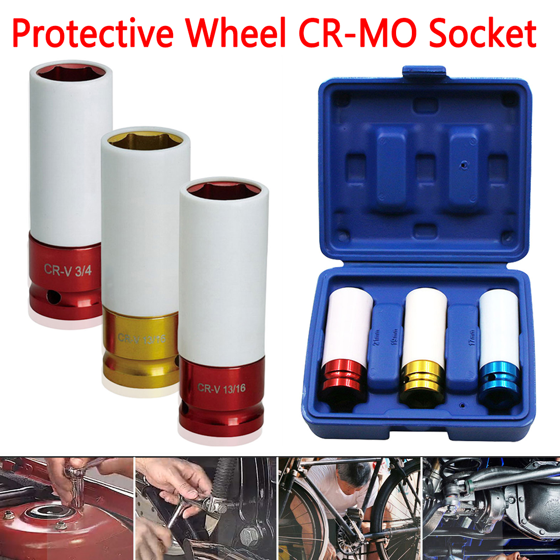 17/19/21mm Pneumatic Tyre Protection Sleeve Colorful Steam Sleeve Auto Repair Hardware Tool + Case 3pcs/set