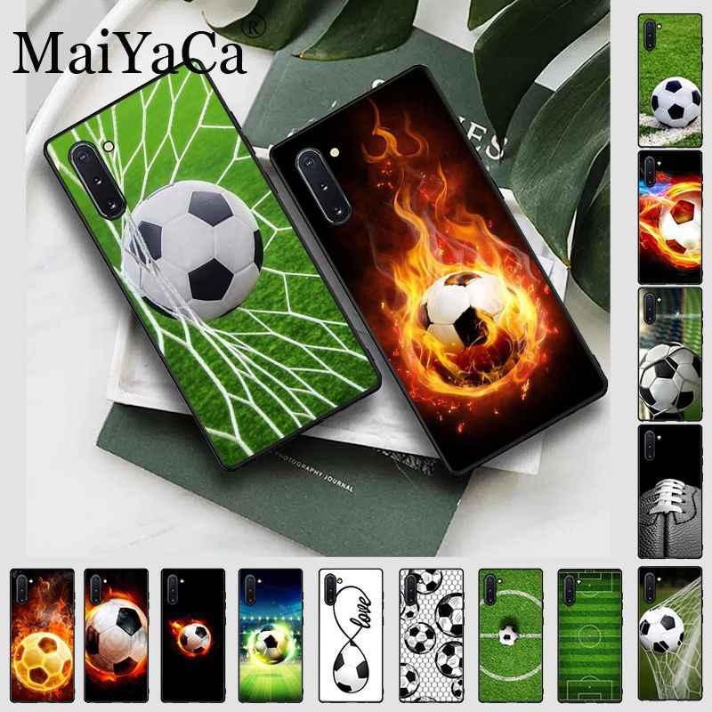 كرة القدم كرة القدم الأسود لينة قذيفة غطاء الهاتف لمجرة نوت 10 نوت 8 نوت 9 نوت 5 نوت 4 s10plus j6coque الهواتف المحمولة
