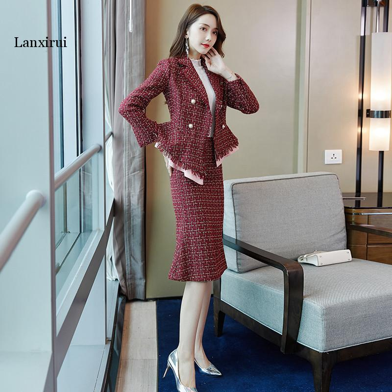 Women Red Tweed Formal Skirt Uniform Two Piece Skirts Suits Double Breasted Jacket Ruffle Blazer and Knee Length Skirt OL Work