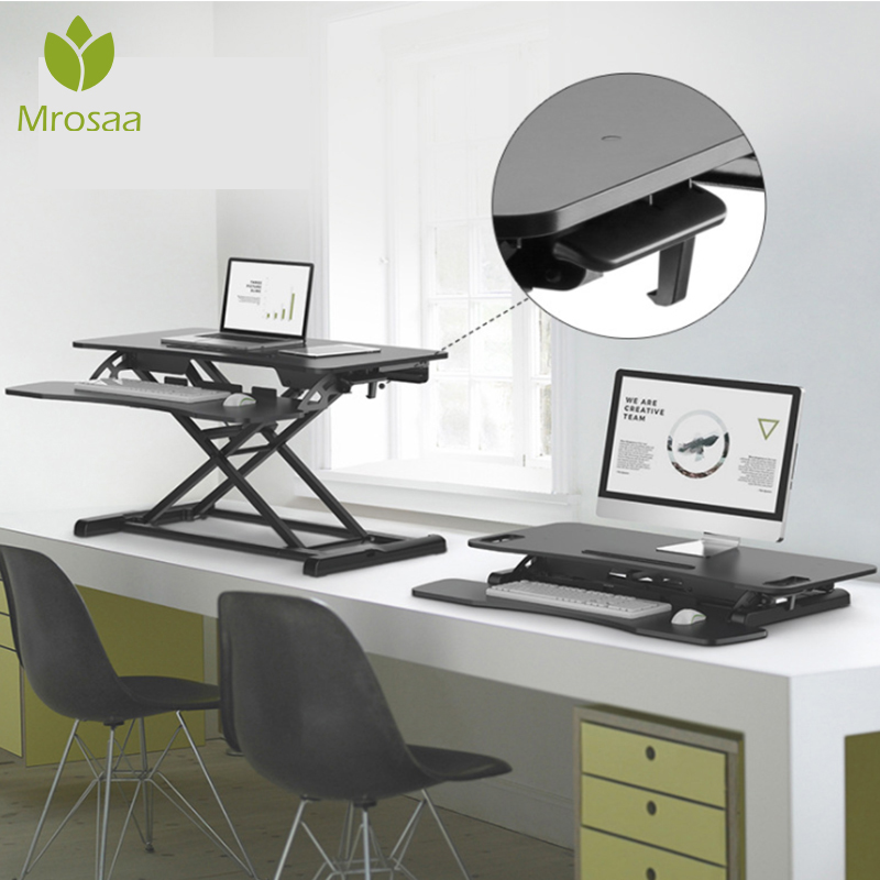 Adjustable Pneumatic Lifting Laptop Desk Stand Up Table Double Layers TV Standing Office Computer Desk Weight Capacity To 15kg