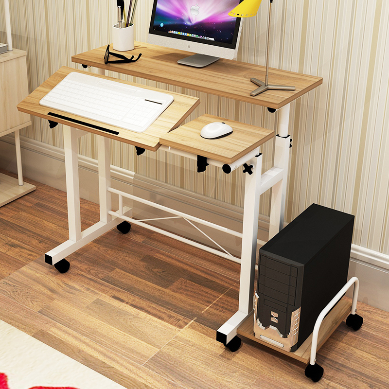 Lifting Computer Table Adjustable Height Children Table Standing Laptop Table Simple Mobile Bedside Table 80cm60