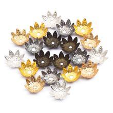 Spacer-Bead Lotus-Flower Caps Filigree Jewelry Finding-Making Metal 8 for DIY 100pcs/Lot