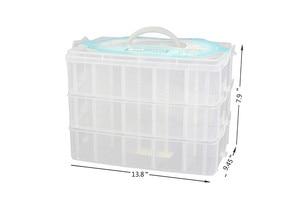 Image 2 - Grand conteneur de rangement avec 30 compartiments ajustables, conteneur pour rangement de fils, accessoires de broderie, bobines et perles