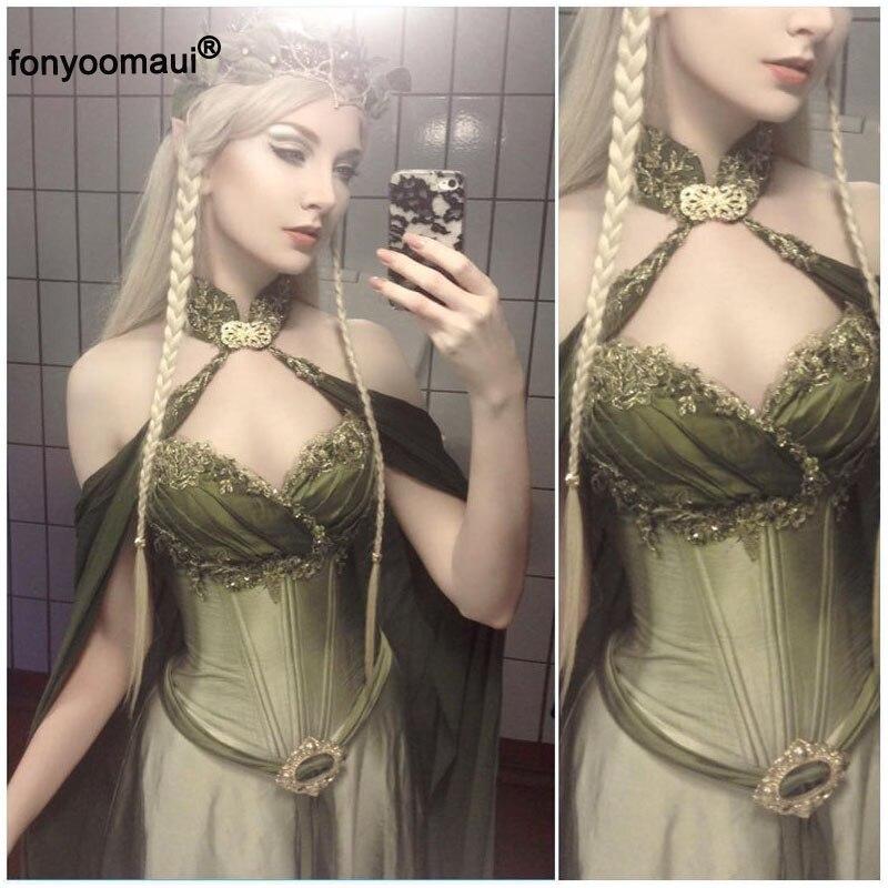 Robe de mariée elfe forêt fée elfique Cape Costume pour femmes adultes Maxi étage longueur Robe Cos princesse Robe de mariée pour dame S-5XL