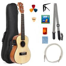 Kmise Electric Ukulele Solid Spruce Concert Ukelele 23 Inch Uke Hawaii Guitar with Professional Cable and Starter Kit