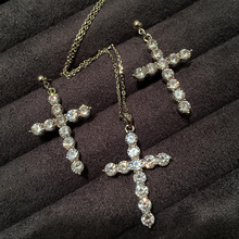 tassel cross ear nail  necklace earring suit chandelier crystal vintage jewelry rhinestone earrings
