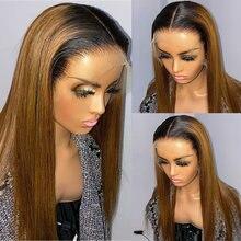Perruque Lace Front Wig synthétique ombrée 1b/27 180%, perruques en Fiber de cheveux lisses, 2 couleurs, blond miel, naissance des cheveux naturelle, pour femmes