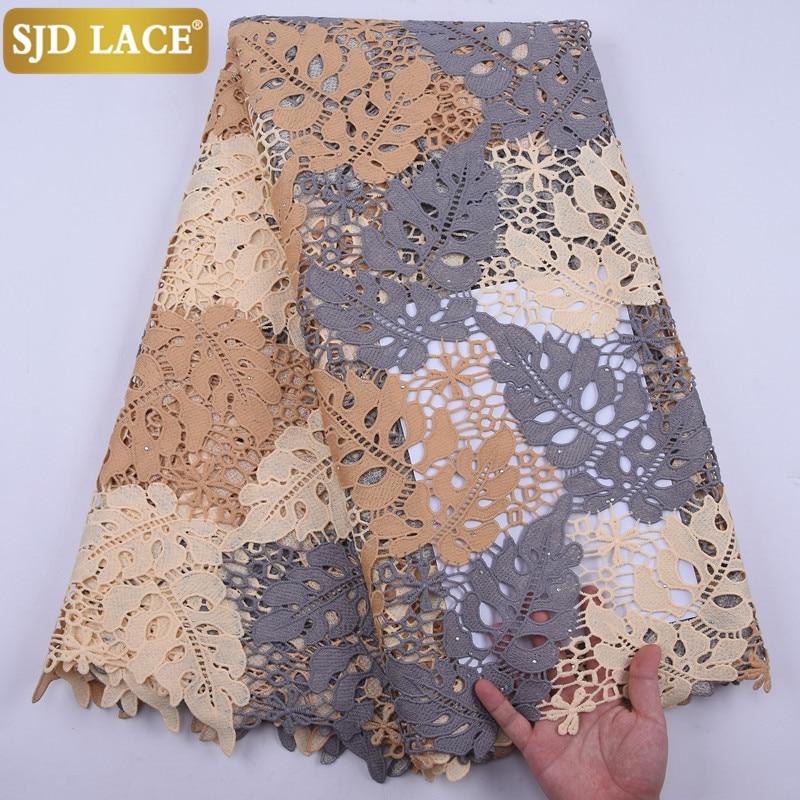 SJD dantel yüksek kalite afrika dantel kumaş ile taşlar renkli suda çözünür gipür danteller düğün için parti dikiş A2048