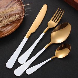 Image 4 - Ensemble de coutellerie 24 pièces, couteaux, fourchettes, cuillères, or rose, service de table de mariage, couverts en acier inoxydable
