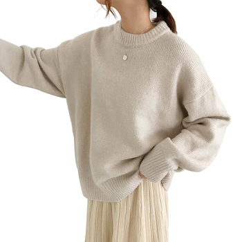 WYWM Cashmere Elegant Women Sweater Oversized Knitted Basic Pullovers O Neck Loose Soft Female Knitwear Jumper