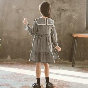Image 2 - Molla Della Principessa di modo del Vestito Della Ragazza del Cotone 2020 Nero Bianco Plaid Del Vestito Del Bambino Bambini Vestiti Lunghi Del Manicotto Dei Bambini Vestiti Dalle Ragazze