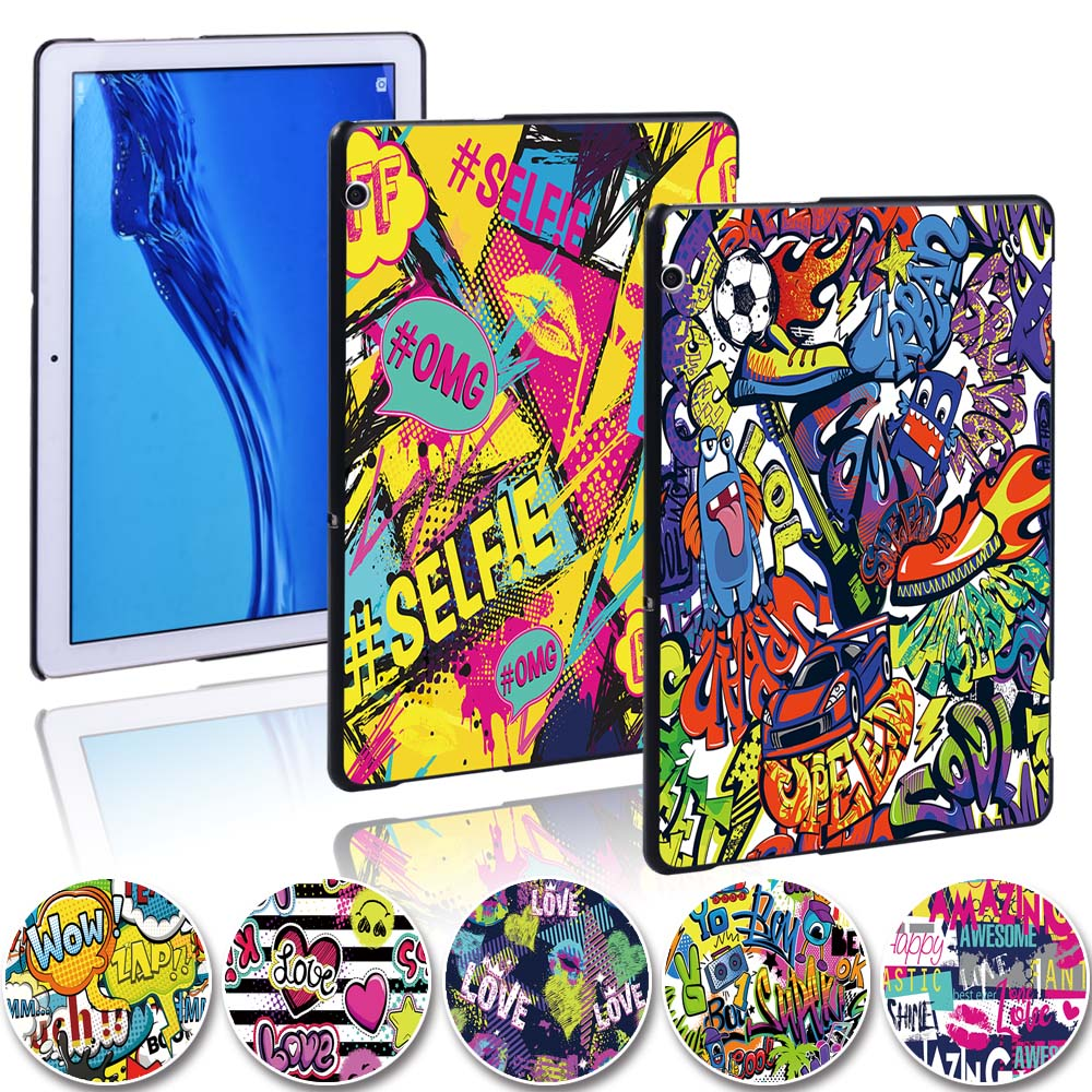 Graffiti sanat ince Tablet sert kabuk kapak kılıf Huawei MediaPad T5 10 10.1 inç/MediaPad T3 8.0/mediaPad T3 10 9.6 + stylus